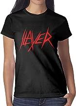 Women's Slayer-Logo-Nuclear-Blast- T-Shirt Short-Sleeve Cotton