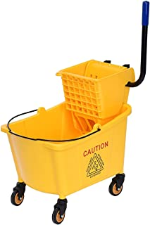 Goplus Commercial Mop Bucket Side Press Wringer Cleaning Caddy with 35 Quart Larger Capacity, Yellow
