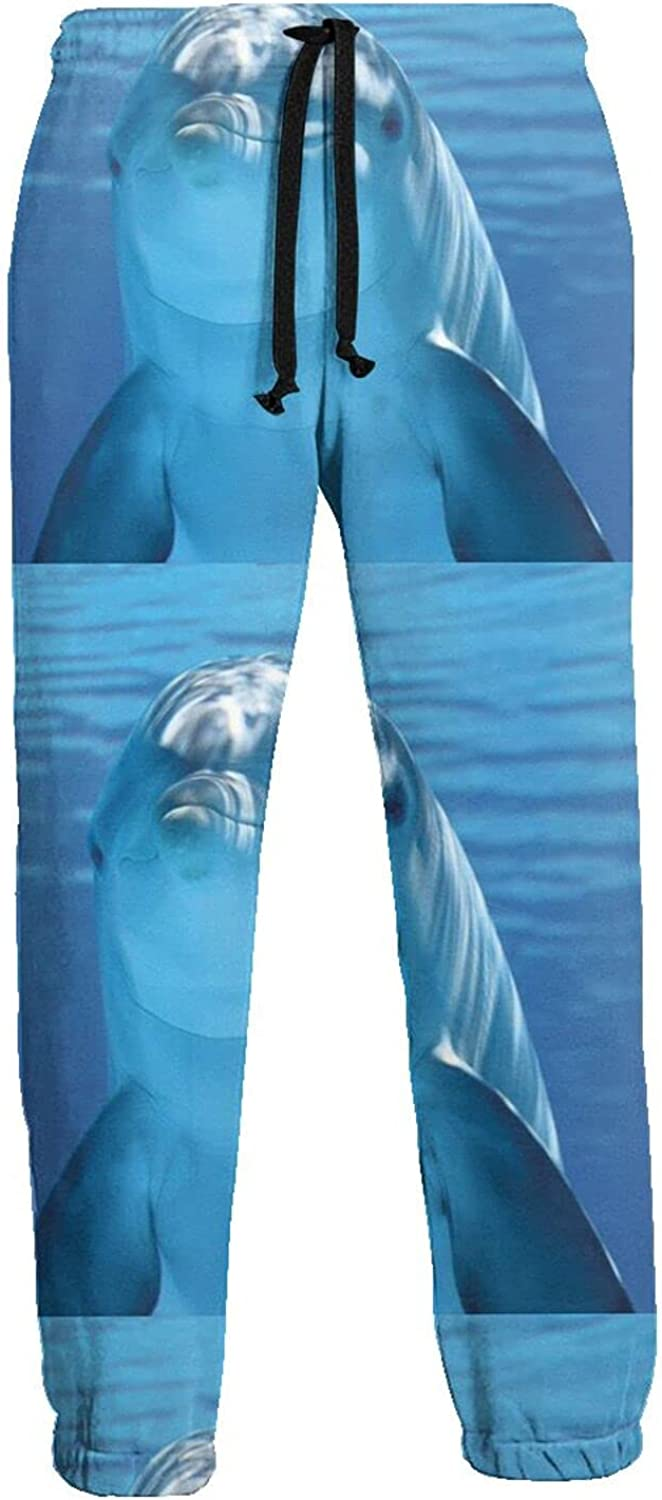 KAWAHATA Dolphin Smile Men's Pants with Pockets Tapered Athletic Sweatpants 3D Casual Active Sports Pants