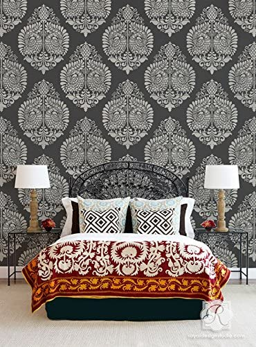 Annapakshi Indian Damask Wall Stencils Wal Chic - Large Fort Worth Mall Bohemian Popular brand in the world