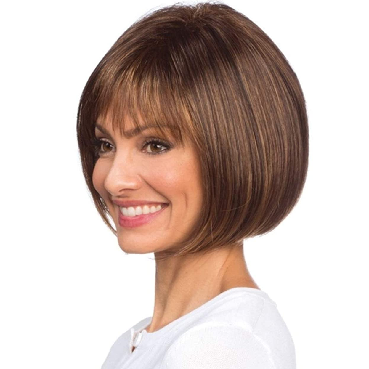 飛ぶ有用再撮りSummerys ソフト&スムーズ女性用前髪付き女性ガールズショートストレート合成かつら