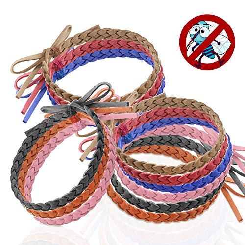 Austor Lot de 12 bracelets anti-moustiques en cuir Sans...