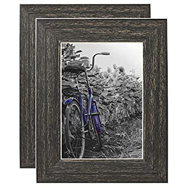 Americanflat 2 Pack - 5x7 Barnwood Rustic Picture Frames - Built-in Easels - Wall Display - Tabletop Display