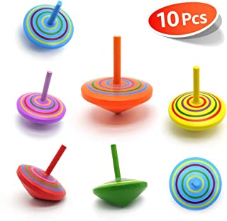 C-pop Multicolor Wooden Spinning Top Toy, Kids Novelty Wooden Colorful Gyroscopes Toy, Assorted Standard Tops Flip Tops, Kindergarten Education Toys, 10 Pack