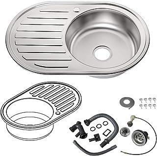 Melko Küchenspüle rund Edelstahlspüle Einbauspüle Spülbecken Küche inkl. Ablaufgarnitur und Siphon