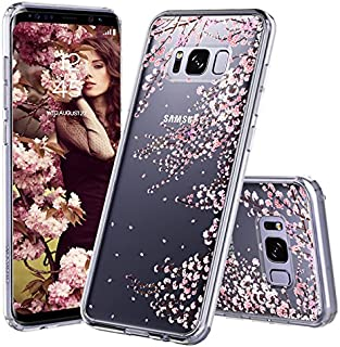 Galaxy S8 Case, Galaxy S8 Cover, MOSNOVO Cherry Blossom Floral Printed Flower Clear Design Plastic Hard Slim Back Case with TPU Bumper Protective Case Cover for Samsung Galaxy S8 (2017)