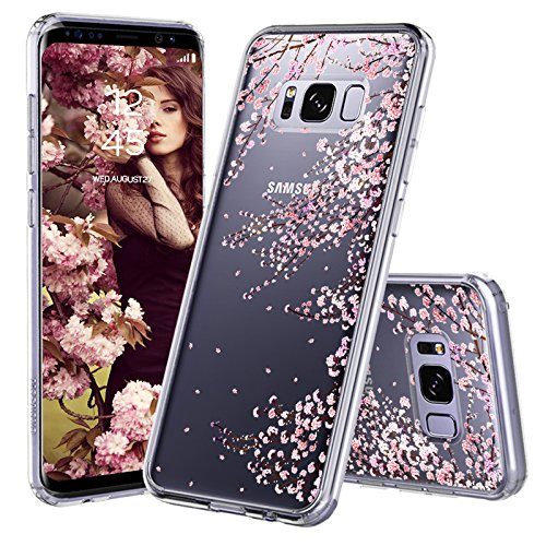 MOSNOVO Galaxy S8 Case, Galaxy S8 Cover, Cherry Blossom Floral Printed Flower Clear Design Plastic Hard Slim Back Case with TPU Bumper Protective Case Cover for Samsung Galaxy S8 (2017)