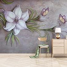 SUNNYBZ Mural De Papel Tapiz Fotográfico 3D Flores Mariposas Plantas Sencillez. 260X175 Cm Papel Tapiz 3D Decoración Del H...