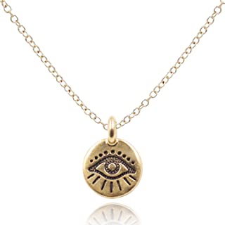 MaeMae Evil Eye Pendant Necklace, 12mm Gold Dipped Eye of Protection Charm, 14k Gold Filled Dainty Chain, 18