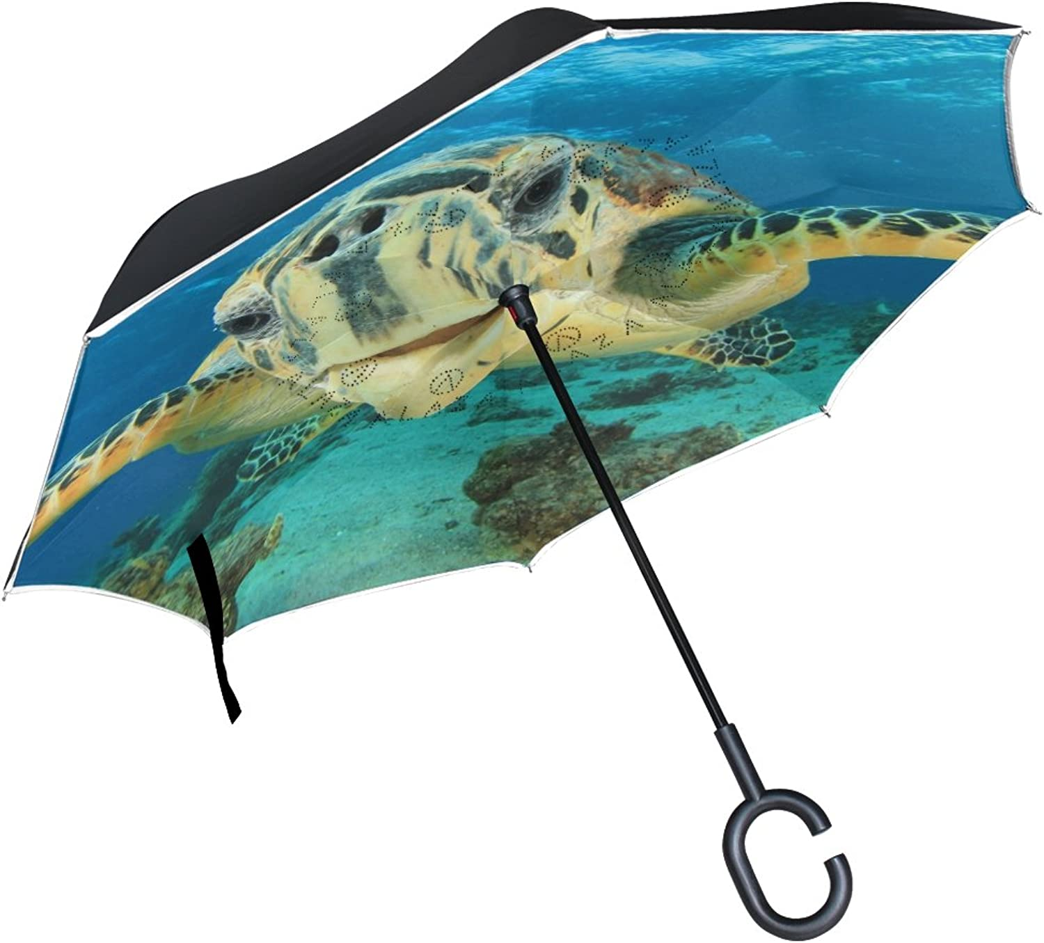 Mydaily Double Layer Ingreened Umbrella Cars Reverse Umbrella Sea Turtle Windproof UV Proof Travel Outdoor Umbrella
