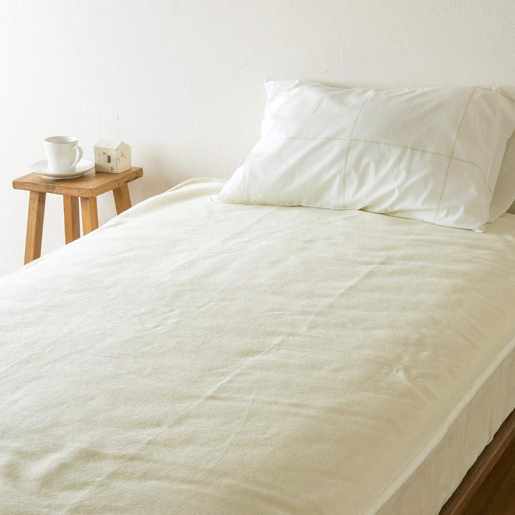 良心的スクラップそよ風西川リビング 敷き毛布 セミシングル 91×205cm ウール100% 日本製 ベッドパッド シール織り 48325 アイボリー[72]