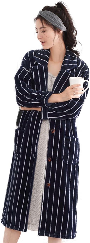 Mingxintech Womens Flannel Pajama Long Thick Overcoat Winter Sleepwear Navy bluee
