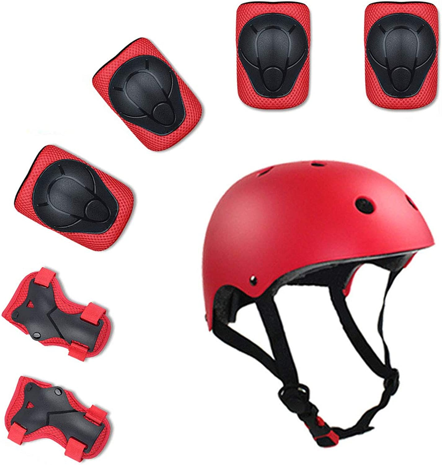 Kids 7 PCS Outdoor Sports Predective Gear Set Cycling Helmet Safety Pads Set Knee&Elbow Pads and Wrist Guards
