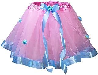Wapakids Falda, tutus, Tull de ballet para niñas color rosa con azul