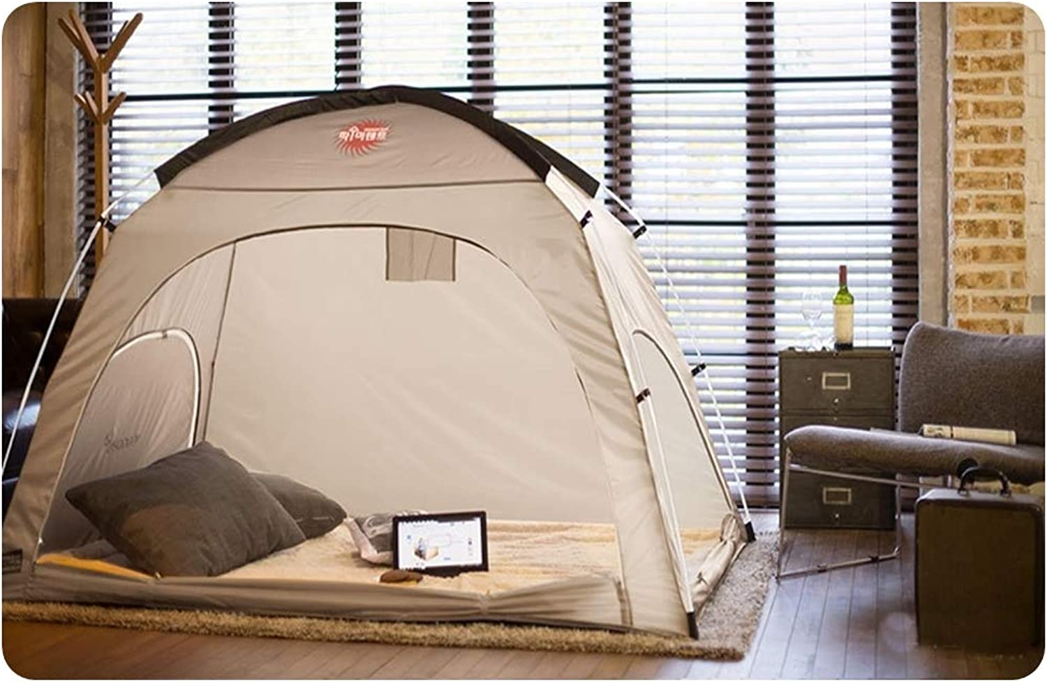 DDASUMI Warm Tent for Single Bed Without Floor - Indoor Tent (Brown Grey)