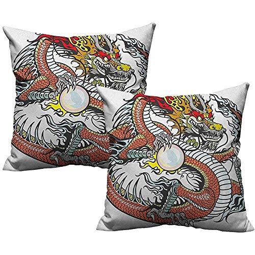 mallcentral-EU Federa Drago Creatura Cinese Tradizionale in Possesso di Una Grande Perla Segni Zodiacali Folk Tattoo Graphic 2 Pz
