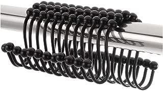KingBra Premium Shower Curtain Hooks & Rings, Metal Stainless Double Roller Glide,Black, Set of 12