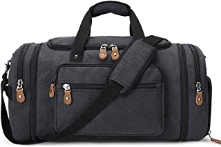 Plambag 50L - 60L Expandable Canvas Duffle Bag with Shoes Compartment, Large Holdall Bag for Men with Trolley Sleeve, Mult...