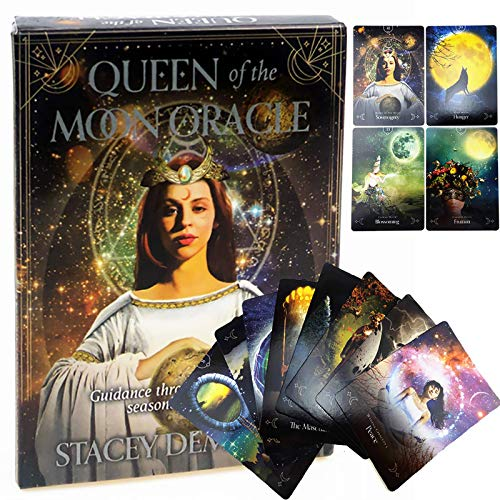 GUOHAPPY 44 Sheets Queen of The Moon Oracle Cards: Board Game Divination Game Props Card Fun Game Cards for Party Home Use