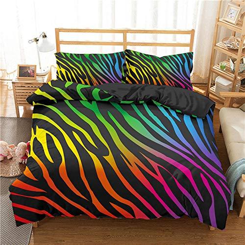 QDoodePoyer Juego de Cama - Juego de Funda Edredón 135x200cm Color Rayas Arte Graffiti con 2 Fundas de Almohada 50x75cm de Microfibra y Suave Juego de Cama para niños y niñas