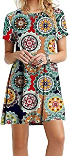 YMING Women Summer Casual T Shirt Dresses A Line Swing Simple Multicolor Mini Dress Plus Size
