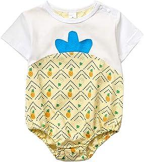 ALLAIBB Toddler Girls Adorable Pineapple Style Design Cotton Romper One Piece Bodysuit Kids Casual Playwear Short Sleeve Summer Jumpsuit Contrast color Babys Romper Pajamas (0-3T)