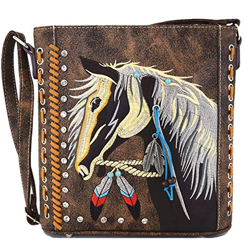 Western Cowgirl Style Horse Cross Body Handbags Concealed Carry Purses Country Women Single Shoulder Bag (#2 Brown)