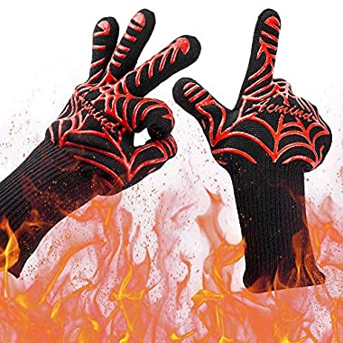 Acmind BBQ Grill Gloves, 932°F Heat Resistant Grilling Gloves, Barbecue Gloves for Smoker, 13  Extremely Cooking Oven Mitts, 1 Pair, Red Silicone Insulated