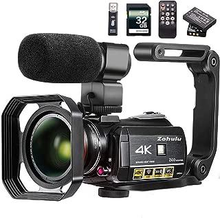 Videocámara 4K Videocámara ZOHULU WiFi Ultra HD Vlog Camera para YouTube, pantalla IPS de 3.1 '' 30X Zoom digital Grabadora de video de visión nocturna con micrófono, lente ancha, parasol, tarjeta SD de 32GB, 2 baterías