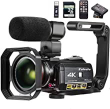 Video Camera 4K Camcorder ZOHULU WiFi Ultra HD Vlog Camera for YouTube, 3.1'' IPS Screen 30X Digital Zoom Night Vision Video Recorder with Microphone, Wide Lens, Lens Hood, 32GB SD Card, 2 Batteries