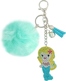 Wrapables Crystal Bling Key Chain Keyring with Pom Pom Car Purse Handbag Pendant