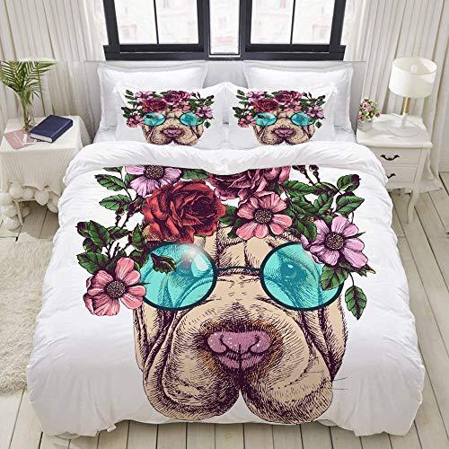 Juego de Funda nórdica, Gafas de Sol Redondas con Guirnalda de Rosas Hippie Sharpei, Juego de Cama Decorativo Colorido de 3 Piezas con 2 Fundas de Almohada