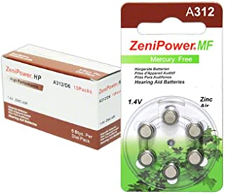 Zenipower Zinc-Air Hearing Aid Battery Size 312 (60)