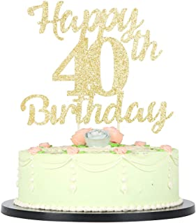LVEUD 40th Birthday Cake Topper for Happy Birthday, 40 Golden Flash 40th Cake Topper,Happy Birthday Cake Topper Cake Ornament (40th)