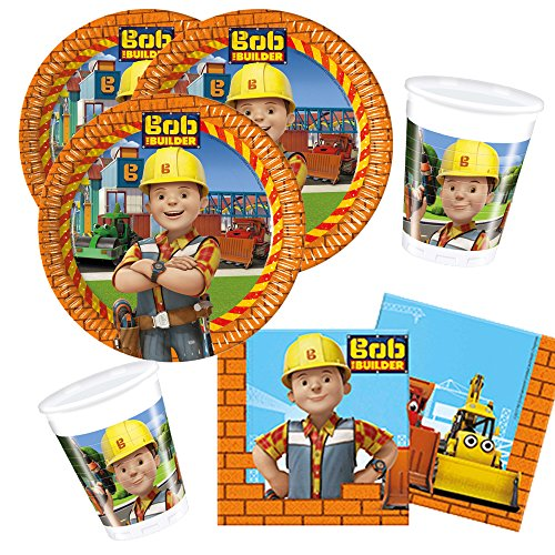 Procos 36-teiliges Party-Set Bob der Baumeister - Teller Becher Servietten für 8 Kinder