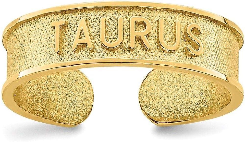 14K Yellow Gold Brushed and Polished Zodiac Taurus Toe Ring