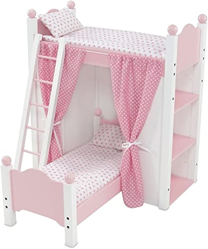 Amazon Com Emily Rose 18 Inch Doll Bed Furniture 18 Doll Loft Bunk Bed With Doll Clothes Shelving Units And Removable Single Doll Bed Includes Ladder Fits American Girl Dolls Toys