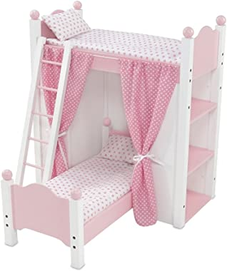 Emily Rose 18 Inch Doll Bed Furniture for American Girl Dolls | Loft Bunk Bed with Shelving Units and Removable Single Bed, I