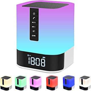 $36 » Bluetooth Speaker with Lights, Alarm Clock Bluetooth Speaker for Bedroom, Touch Control Bedside Lamp, Dimmable RGB Multico...