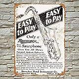 Henson 1928 Buescher Saxophones Traditional Vintage Tin Sign Logo 12 * 8 Advertising Eye-Catching Wall...