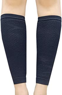 EXIO Calf Compression Sleeve, 1 Pair – Seamless Tech Leg Supports 20-35mmHg for Shin Splint, Relieve Calf Pain, Swelling, Varicose Veins for Men Women (Black, L-XL(13~16))