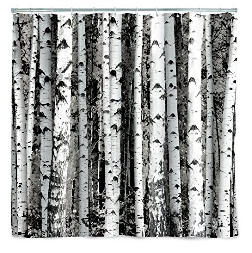 Kikkerland Shower Curtain, Polyester, Birch