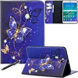 Galaxy Tab S2 9.7 Case, Newshine PU Leather Folio Wallet Stand Cover for Samsung Galaxy Tab S2 Tablet (9.7 Inch, SM-T810 T815 T813) - Cobalt Butterfly