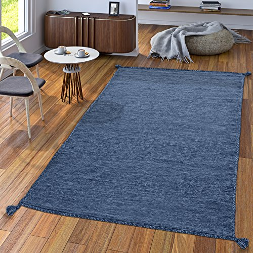 TT Home Handwebteppich Wohnzimmer Natur Webteppich Kelim Modern Baumwolle In Blau, Größe:80x150 cm