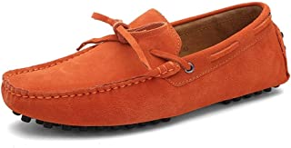 DADIJIER Driving Loafers for Men Suede Boat Moccasins with Lace up Tie Deck Shoes Slip on Genuine Leather Anti Slip Studs ...