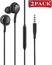(2 Pack) Aux Headphones/Earphones/Earbuds,3.5mm Aux Wired in-Ear Headphones with Mic and Remote Control Compatible with Galaxy S9 S8 S7 S6 S5 Edge + Note 5 6 7 8 9 and More Android Devices(Black)