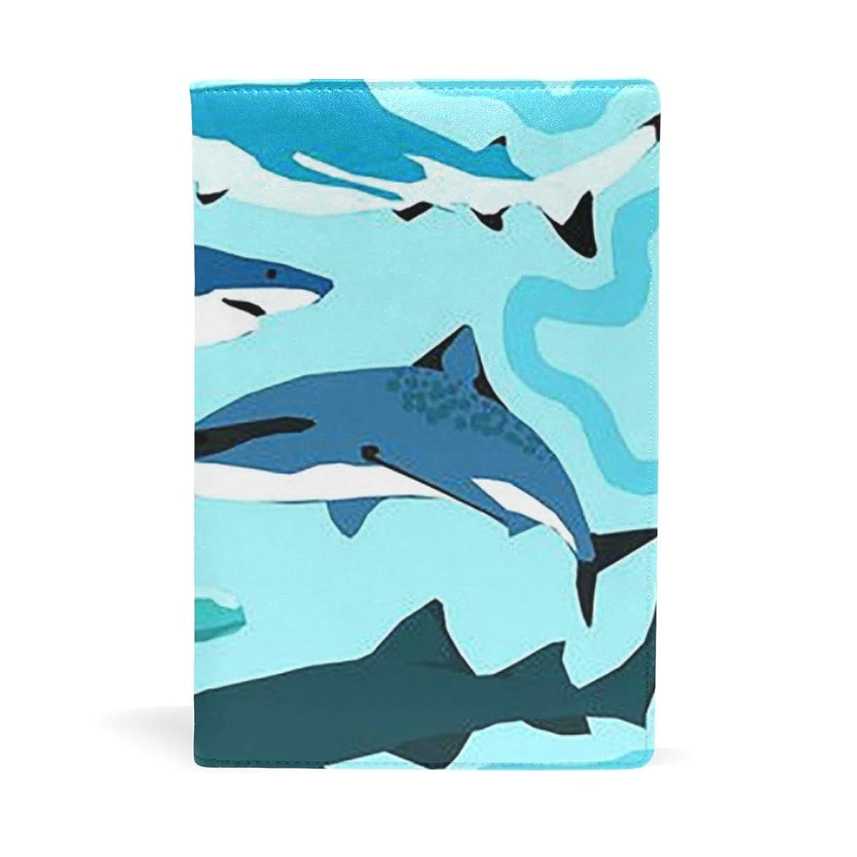 完璧メアリアンジョーンズ政治可愛いのサメ ブックカバー 文庫 a5 皮革 おしゃれ 文庫本カバー 資料 収納入れ オフィス用品 読書 雑貨 プレゼント耐久性に優れ