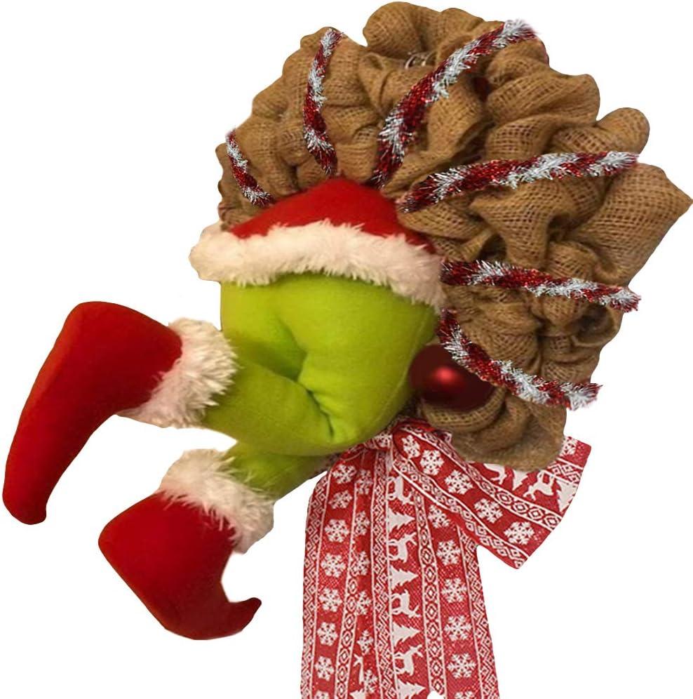 Ladr/ón de Navidad rob/ó corona de arpillera de Navidad adornos navide/ños exquisito marco Guirnalda navide/ña con adornos de arpillera de ladr/ón rob/ó Grinch con patas de felpa que pueden poseer