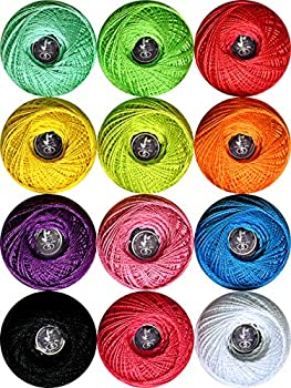 Size 5 Crochet Thread 100% Contton Yarn Rainbow 12 Colors 20g