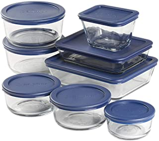 Anchor Hocking 16 Piece Round and Rectangle Glass Food Storage Containers, Space Saving Meal Prep, Navy BPA-Free SnugFit Lids